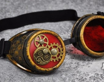 Cryoflesh Steampunk Brass Gear Industrial Goggles