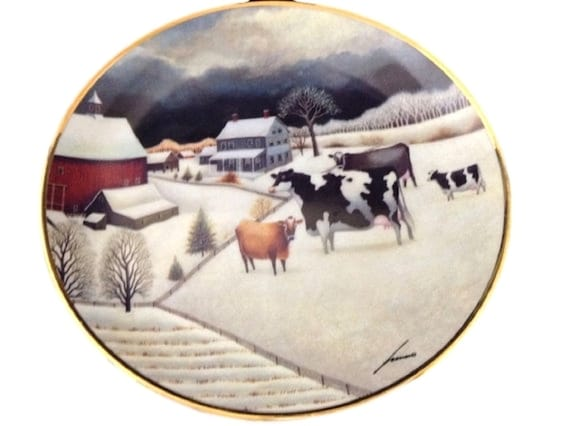 American Folk Art Collectors Plate By Lowell Herrero - Adorable Vintage Plate Cows in The Winter, Folk Art Cow Plate - Farm Barnyard Decor