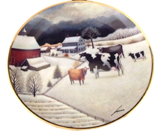 Farm Decor Wall Plate, Cows in The Winter, Folk Art Decor, Cow Plate, American Artist Lowell Herrero, Gift For Dairy Farmer, Dairy Farm Gift