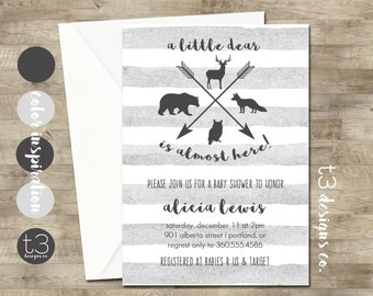 Woodland Animal Baby Shower Invitation, Woodland Baby Shower, Forest Animal Baby  Shower, Hunting