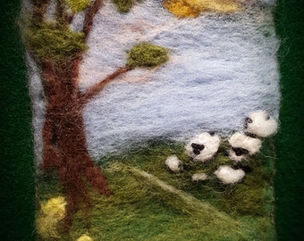 Peaceful Sheep On  Hill, Felt Pouch, Cell Phone Pouch, Amulet Bag, Felt Landsacpe, Needle Felted Purse, Sarah's Sheep On A Hill