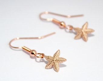 Rose Gold Earrings, Rose Gold Starfish Earrings, Seaside Jewellery, Nautical Jewellery, Nautical Earrings, Starfish Jewellery, Beach Chic