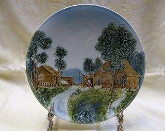 Vintage Majolica Raised Relief Decorative Plate, Farm Cottage, Made in Germany, 3724, T
