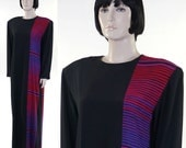 Vintage 1970s Women Black Silk Graphic Maxi Dress / Pop Art Dress / Barcode Dress / Geometric Purple Pink Magenta