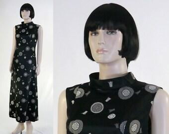 Adult Women's Asian Satin Maxi Dress - Size 10 - Black Satin - Gold Symbols - Fully Lined - Elegant Gown - Cocktail Dress