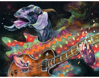"Art Print - Goat Guitar Artwork - Wall Art - Wall Decor - Art Poster - ""Groovin Gary"" by Black Ink Art"