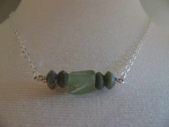 Ancient Old Glass, 610 AD & Sterling Silver Necklace, Roman Empire Glass, 610 AD, Toniraecreations