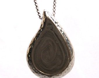 Textured Teardrop Cremation Pendant, 30 x 20mm - Sterling Silver Pet Ashes Jewelry