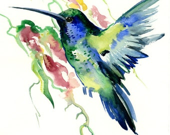 Deep Blue Emerland Green Hummingbird, one of  a kind original watercolor painting 12 X 9 in