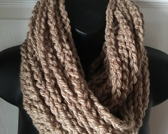 Crochet Infinity Scarf..Taupe Scarf..Cowl..Neck Warmer..Crochet Chain Scarf..More Colors Available..Accessory..Gift