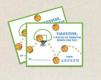 Jungen-Basketball, die ich für Sie durch Reifen gehen würde Kinder Valentine Day Karten