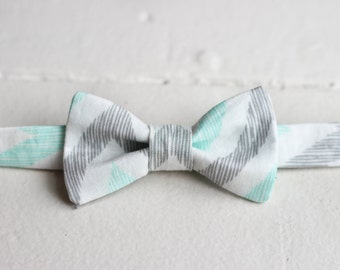Boys Gray & Mint Bow Tie -  Boys Gray Bow Tie, Mint Chevron Bow Tie, Little Boys Bow Tie, Gray Toddler Bow Tie, Mint Baby Bow Tie
