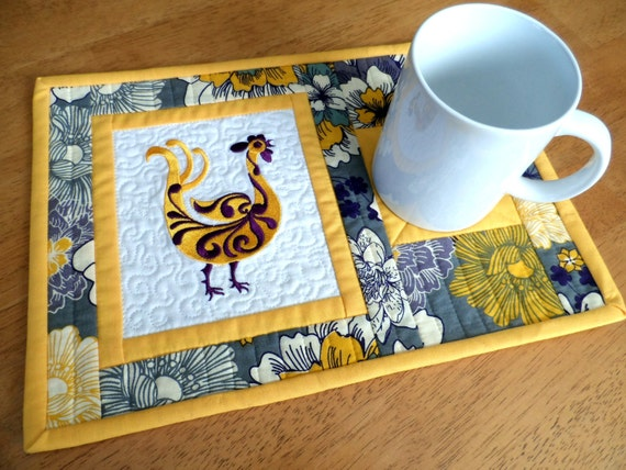 Rooster Mug Rugs Chicken Snack Mats Mini Placemats Set Of