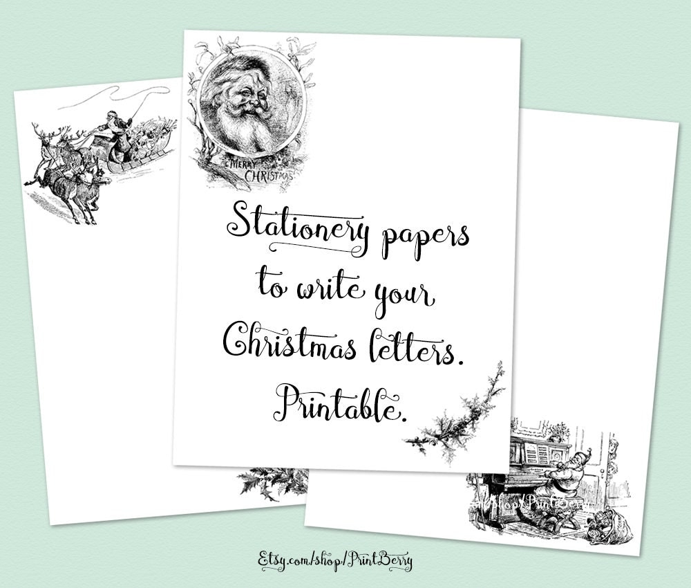 Vintage Christmas Stationery Paper Printable Writing Paper Letter