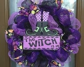 """The Witch is In 18"""" deco mesh wreath"""