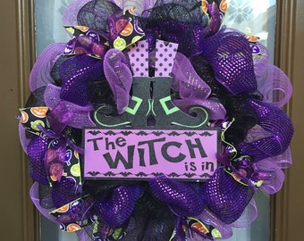 "The Witch is In 18"" deco mesh wreath"