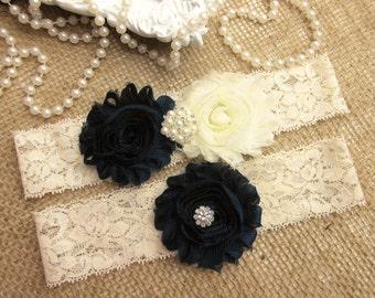Navy Blue Wedding Garter Set, Country Chic Wedding Garter Set, Wedding Accesoories
