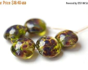 ON SALE 5 pcs - Lentil Lampwork Beads Set