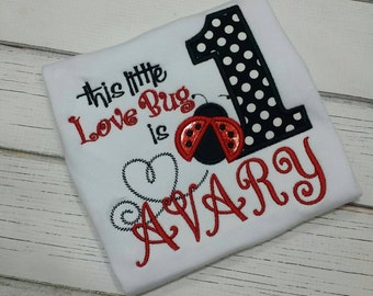 Lady bug 1st birthday embroidered shirt