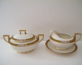 Homer Laughlin Creamer and Sugar Bowl with extra saucer, vintage replacement set, Gold trim and roses, numbered  G5, cottage chiq kitchen