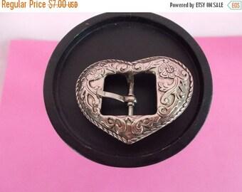 Vintage Small Silvertone Ornate  Heart Shape Belt Buckle