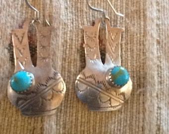 NAVAJO EARRINGS Fancy Sterling Turquoise