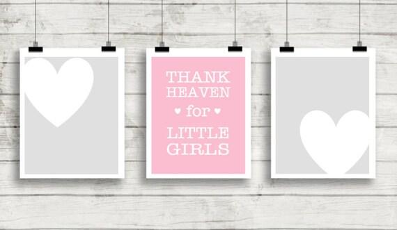 Nursery Wall Art, Girl Nursery Art, Thank Heaven for Little Girls, Printable Wall Art, 8x10