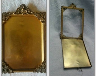 Gilt Brass Picture Photo Frame Antique Detailed Vintage Gilt Patina Latched like a Locket Marked Beautiful Unique