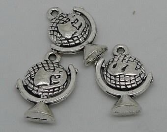 10pcs Globe Charms, 15x20mm Antique Silver Globe Charms Pendant