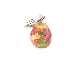 Leaf Necklace Leaves in Resin Pendant with metal leaf charm for Lughnasadh or Mabon