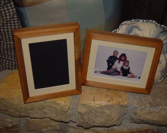 5X7 Picture frame solid cedar wood deep profile matted photo craft frame oak finish rustic display