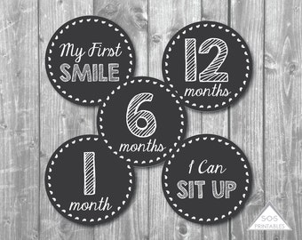 Chalkboard Baby Milestone Stickers, Baby Milestone, Printable Stickers, Printable PDF, printable gift, digital download, printable milestone