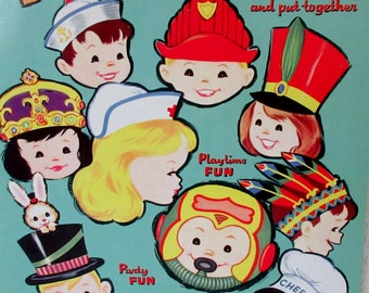 Vintage 1961 Whitman Play  Hats Punch Out Book Unpunched  ** Epsteam