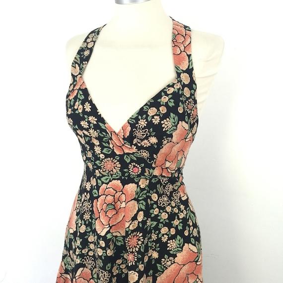 Lee Bender wrap dress vintage halterneck dress UK 6 8 1970s dress poppy print cotton hippy boho 70s floral dress