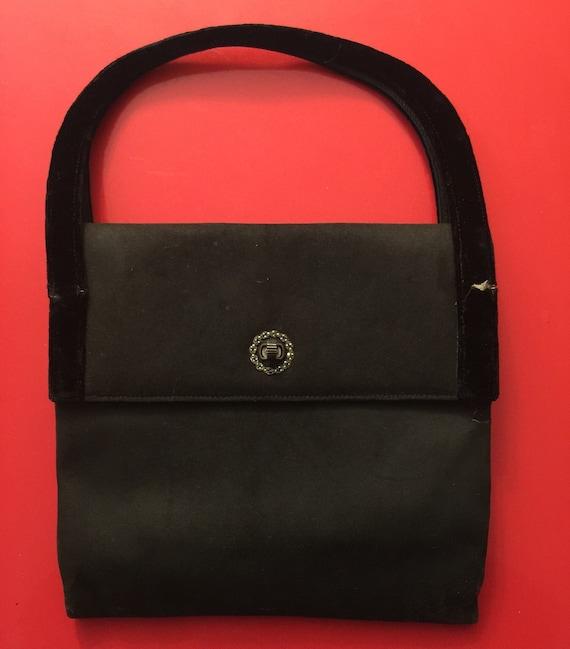 Vintage Loewe bag black suede purse marcasite silver clasp velvet handles evening handbag 1940s gothic vampy damaged