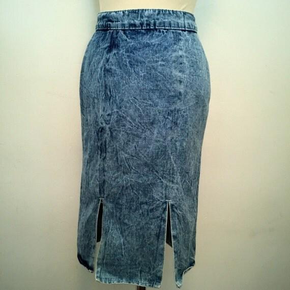 vintage denim skirt acid wash pencil skirt stonewash high
