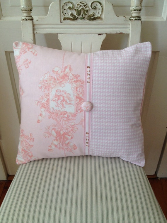 Items similar to French Country Pillow Cover, Shabby Chic Pillow, Paris Pink Toile, Decorative ...