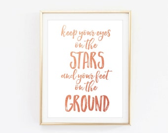 Stars quote print, rose gold quote poster, Typographic Print, motivational quote, quote art print, inspirational quote