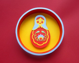 round frame doll Russian, paper cut