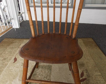 ANTIQUE WINDSOR CHAIR  ...Bamboo Turnings...Wood...Side Chair... Very Good Conditon...Previous Painted...Sturdy....Free Shipping