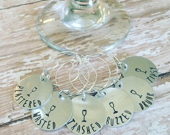 Custom Handstamped Wine Glass Charms, Drink Tags Set of 6, Wine Accessory, Wine Lover Gift, Bachelorette Party Gift, Funny Gift Idea