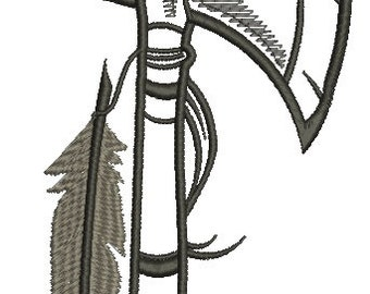 tomahawk and feather Machine Embroidery Design,  Instant Download