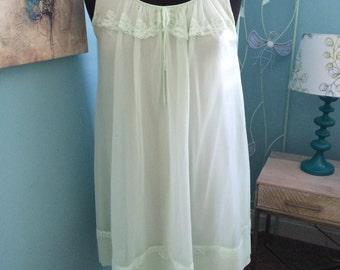Green chiffon babydoll nightgown