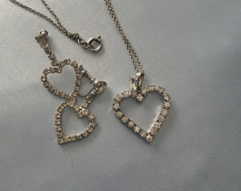 Sterling Silver rhinestone heart and screw on earrings set