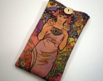 Fabric sunglass case, Alphonse Mucha art, Art Nouveau, Soft eyeglass case, Case for sunglasses, Quilted eyeglass case, Mucha