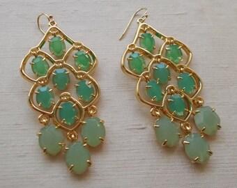 StrikingGraduated Shades of Green Chandelier Earrings  1359