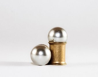 Matte Silver Pearl Wedding Plugs, gauges   4g, 2g, 0g