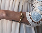 Raw White quartz point crystal statement bridal retro style cuff handmade in solid yellow bronze-made to order