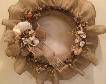Burlap Wreath with Seashells