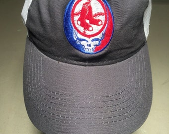 Grateful Dead Steal Your face RED SOX embroidered trucker hat